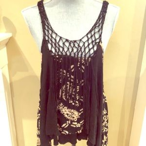 Free People Black and Tan Netted Tank